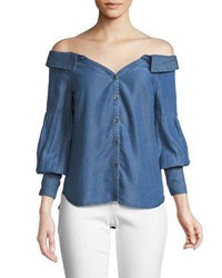 Ella Moss Off The Shoulder Chambray Top Blue