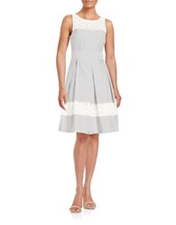 London Times Plus Seersucker Fit And Flare Dress Grey White