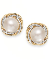 Macy's Cultured Freshwater Pearl 9Mm And Diamond 1 10 Ct. T.W. Knot Stud Earrings In 14K Gold