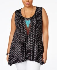 American Rag Plus Size Printed Handkerchief Hem Top Only At Macy's Classic Black Combo