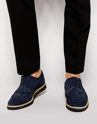 Asos Brogues In Suede With Wedge Sole Navy