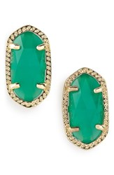 Kendra Scott Women's Ellie Birthstone Stud Earrings May Emerald Cats Eye