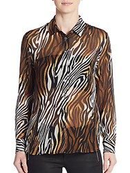 Equipment Leema Silk Animal Print Blouse Brown Multi