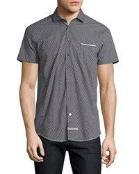 English Laundry Square Print Short Sleeve Sport Shirt Charcoal Grey