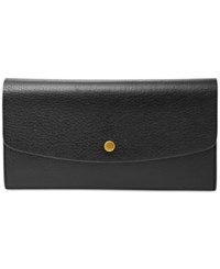 Fossil Haven Large Flap Leather Wallet Black