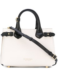 Burberry Leather Tote Bag Women Cotton Calf Leather Metal One Size White