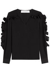 Victoria Victoria Beckham Heavy Silk Top With Structured Ruffle Sleeves Black
