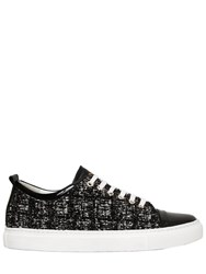 Lanvin 20Mm Tweed And Patent Leather Sneakers