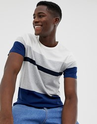 Selected Homme T Shirt With Block Panel Stripes Navy