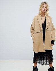 Religion Car Coat With Contrast Piping Detail Beige