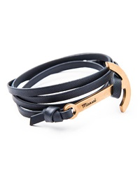 Modern Anchor Leather Bracelet Navy Miansai