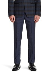Paisley And Gray Blue Sharkskin Flat Front Trouser