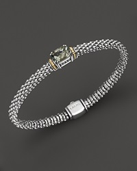 Lagos 18K Gold And Sterling Silver Prism Green Amethyst Rope Bracelet 6Mm