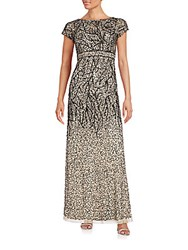 Adrianna Papell Sequined Empire Waist Gown Champagne Black