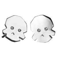 Delphine Leymarie Tiny Diamond Skull Earrings Sterling Silver