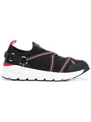 Christian Dior Homme Strap Neoprene Sneakers Men Cotton Leather Polyester Rubber 39.5 Black