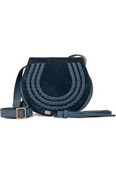 Chloe Marcie Mini Suede And Leather Shoulder Bag Navy