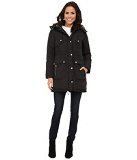 Cole Haan Down Anorak With Faux Fur Trimmed Hood Black Women's Coat