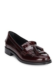 Tod's Leather Slip On Loafers Burgundy