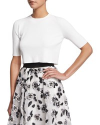 Lela Rose Short Sleeve Button Back Crop Top Ivory