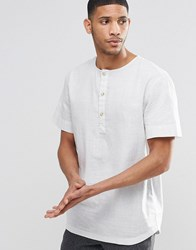 Adpt Short Sleeve Shirt With Henley Neck Detail High Rise Grey