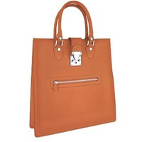 L.A.P.A. Front Zip Calf Leather Large Tote Handbag Tan