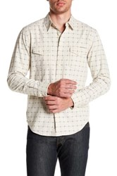 Lucky Brand Windowpane Long Sleeve Regular Fit Western Shirt White