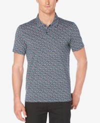 Perry Ellis Men's Floral Print Polo Ink