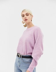 Selected Femme Deep Cuff Knitted Jumper Orchid Melange Pink
