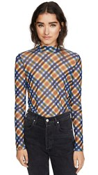 Opening Ceremony Long Sleeve Mesh Top French Blue Multi