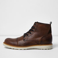 River Island Mens Brown Leather Contrast Sole Wedge Boots