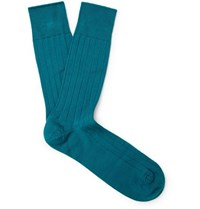 John Smedley Delta Ribbed Sea Island Cotton Blend Socks Green