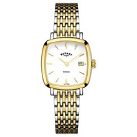 Rotary Women's Windsor Date Square Bracelet Strap Watch Gold Silver