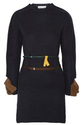 Toga Belted Leather Trimmed Two Tone Ribbed Wool Sweater Navy