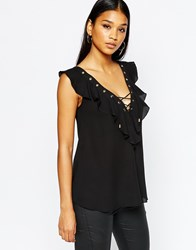 Lipsy Lace Up Frill Top With Eyelets Black