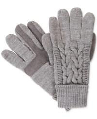 Isotoner Signature Solid Triple Cable Knit Palm Smartouch Tech Gloves Oxford Heather