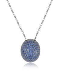 Azhar Blue Cubic Zirconia Sterling Silver Pendant Necklace