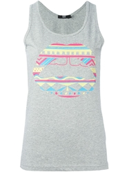 Markus Lupfer Tribal Lip Print Tank Top Grey