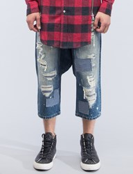 Mostly Heard Rarely Seen Distressed Enzo Drop Crotch Jeans