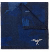 The Workers Club Printed Wool Twill Pocket Square Indigo