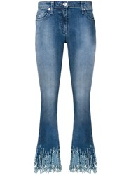 Blumarine Sequin Cropped Flared Jeans Blue