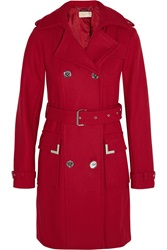 Michael Michael Kors Wool Blend Trench Coat Red