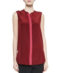 Vince Contrast Front Satin Blouse Women's Currant Gypsy