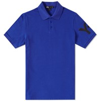 Y 3 Sleeve Logo Polo Blue