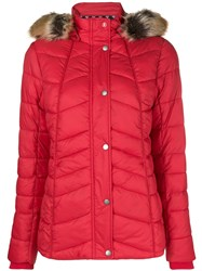 Barbour Fur Hood Trim Puffer Jacket Red