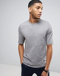 Asos Relaxed T Shirt With Half Sleeve And Pocket In Grey Spoon