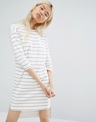Native Youth Long Sleeve T Shirt Dress In Breton Stripe White