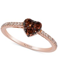 Le Vian Exotics Chocolate And White Diamond Heart Ring 1 2Ct.T.W In 14K Rose Gold