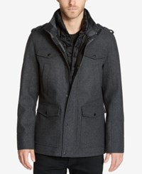 Guess Men's Military Inspired Coat With Plaid Detail Charcoal