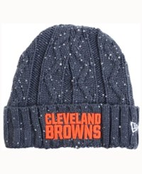 New Era Women's Cleveland Browns Frosted Cable Knit Hat Darkgray